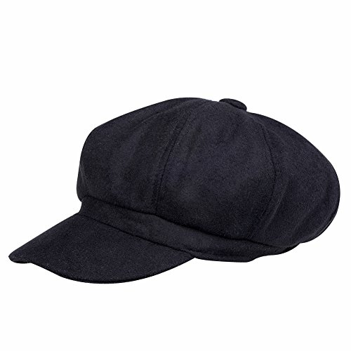 (VBIGER Men and Women's Woolen Fedora Newboys Hat (Black))