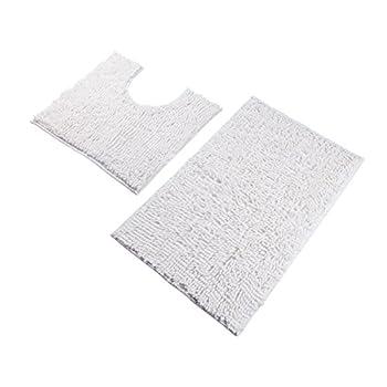 VDOMUS Microfiber Bathroom Contour Rugs Combo, Set of Soft Shaggy Non Slip Bath Shower Mat and U-shaped Toilet Floor Rug (White)