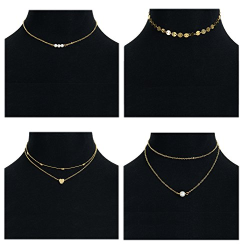 Masedy 4Pcs 18K Gold-plated Choker Necklace for Women Girls Sexy Layered Chain Necklace Adjustable Gold