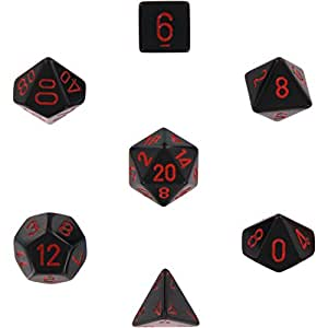 Chessex Dice Sets: Opaque Black w Red - 16mm Six Sided Die (12) Block of Dice