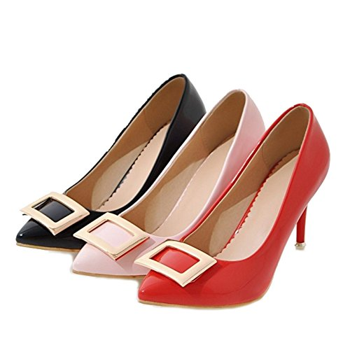 SJJH Court Shoes with Thin Heel and Pointed Toe Beautiful Chunky Accessory Large Size Women Shoes for Office Ladies Black xbcUg7Nfkf