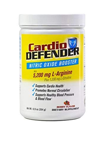 Cardio Defender Nitric Oxide Booster Heart Health Support Formula. Supports Cardio Health, Blood Pressure & Circulation. 5200mg L-Arginine, 1200mg L-Citrulline, CoQ10 & Other Vital Nutrients, Non GMO