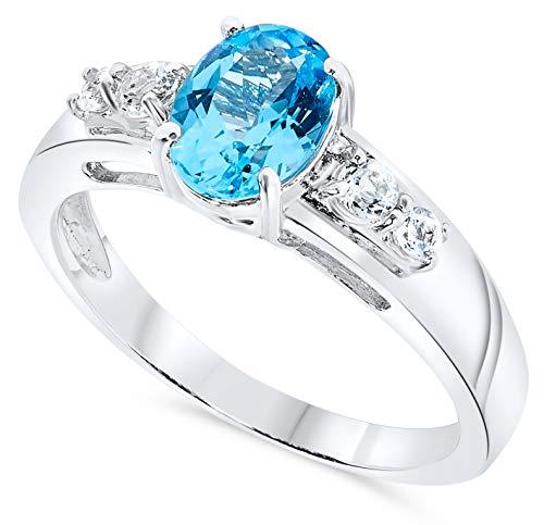 (Oval Blue Topaz Gemstone Ring in .925 Sterling Silver)