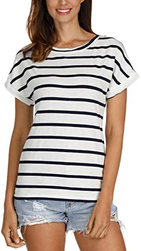 Haola Women's Striped Tops Summer Casual Round Neck Short Sleeve Blouse T-Shirt