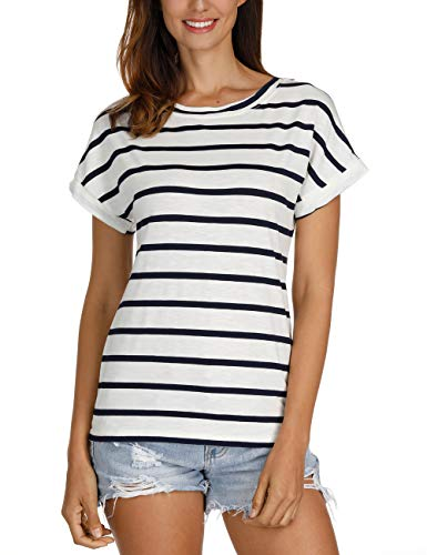 Haola Women's Striped Tops Summer Casual Round Neck Short Sleeve Blouse T-Shirt NavyBlue White Stripe 2X ()