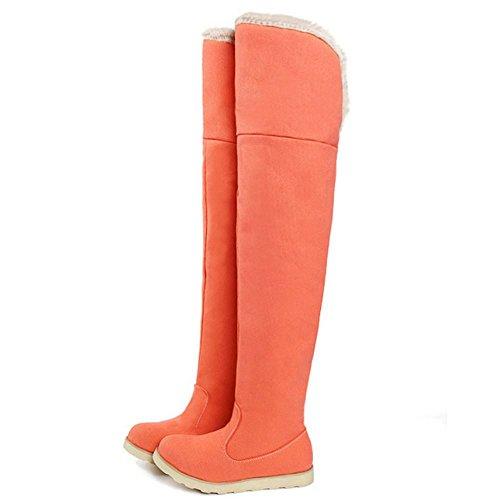 Women TAOFFEN Boots High Flat Thigh Comfort Orange Long nPgHgxw1dq