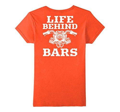 Womens Life Behind Bars Motorcycle Biker Tshirt on Back XL Orange