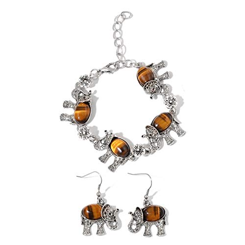 Shop LC Delivering Joy Iron Stainless Steel Tigers Eye Black Oxidized Elephant Earrings Bracelet Jewelry Set for Women 7-9