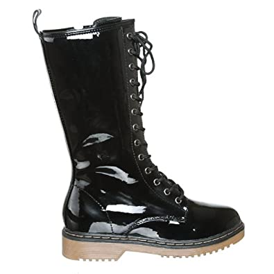 NEW! Mid Calf Patent Lace Up Rain Boots