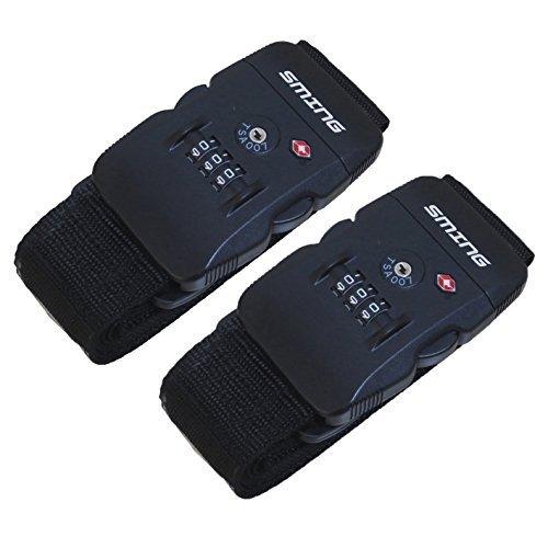 SMING Travel Luggage Strap Adjustable Suitcase Packing Belt with TSA Combination Lock(Black...