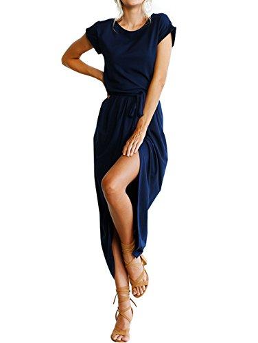 Casual Long Bule Women's with Party Solid Maxi Dress Gzbinz Front Dark Slit Summer Belt qYxqOEZ