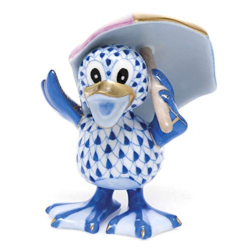 Herend Duck Just Ducky Porcelain Figurine Sapphire Fishnet