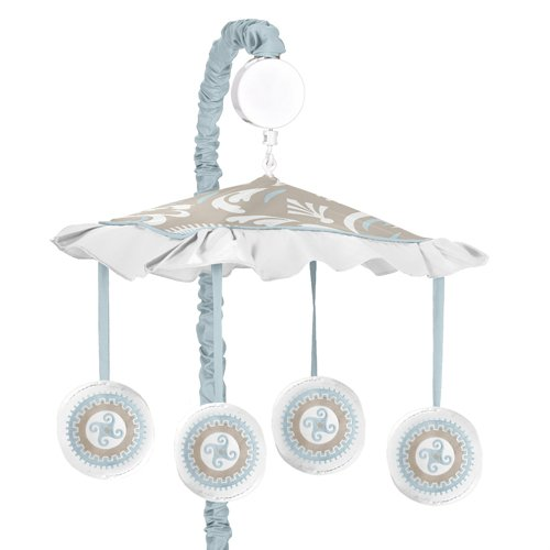 Sweet Jojo Designs Blue and Taupe Hayden Musical Baby Crib Mobile