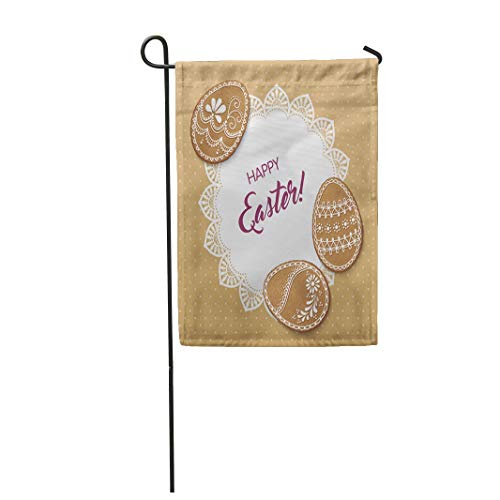 Tarolo Decoration Flag Baked Happy Easter Polka Dot Lacy Doily and Egg Shaped Gingerbread Cookies Biscuit Border Thick Fabric Double Sided Home Garden Flag 12