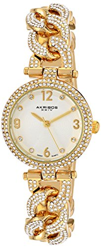 Akribos XXIV Women's AK756YG Swiss Quartz Movement Watch with Silver Engraved Sunburst Dial and Yellow Gold Bracelet