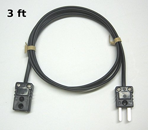 J-Type Thermocouple Extension Cable Wire with Miniature Mini Thermocouple Connectors 3 ft (= 1 yard) long by MN Measurement Instruments