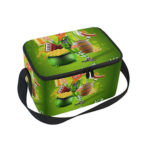 - Unisex Lunch Bag St. Patrick's Day Elf Shamrock Canvas Zipper Lunch Tote Boxes Cooler warm Pouch For Travel Picnic School Office