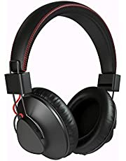 QINUKER Wireless Wired Bluetooth Over Ear Headphone, Noise Cancelling Headset Hi Fi Stereo Foldable Earphone with Lightweight Adjustable Built in USB Mic for Mobile Phone iPad Laptop PC Travel Black