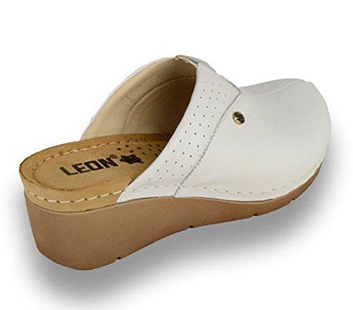 Sabots Mules 1002 Leon Dames En Cuir Femme Chaussons Blanc Chaussures fgxqaE5wq