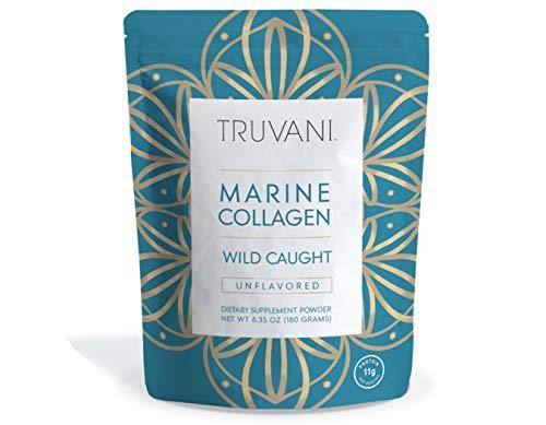 TRUVANI - Wild Caught Hydrolyzed Marine Collagen Protein Powder | Collagen Protein Supplement with Type 1,2 & 3 | Anti-Skin Aging | Non-GMO | Mercury Free | Gluten Free Fish Collagen | 6.35 OZ