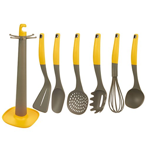 7-Piece Utensil Set – Cooking Utensils Kitchen Tool Set, Nylon Kitchen Set with Holder Stand, Includes Spatula, Ladle, Whisk, Spoon, Skimmer, Pasta Server, Yellow and Grey