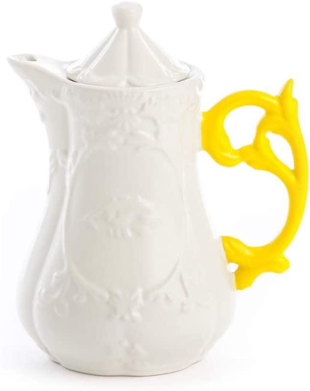 Color Blanco 13 cm de di/ámetro 23 cm de Altura Porcelana Seletti I‐Wares Tetera con Asas de Colores Amarillo