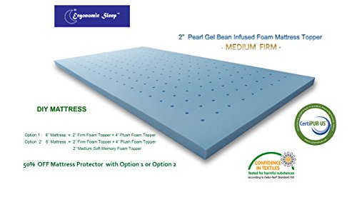 Visco Foam TF17020Q Ergonomic Sleep Queen Gel Foam Mattress Topper Pad, 2