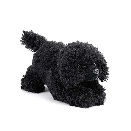 (DEMDACO Poodle Stuffed Dog Curly Fuzzy Black 6 inch Plush Fabric Beanbag Figure Toy)