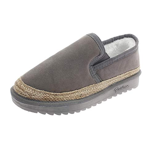 LIM&Shop ⭐ Loafer Moccasins Slippers Slippers Casual Comfort Slip On | Lightweight Winter Flat with Fur or Travel Shoes Gray ()
