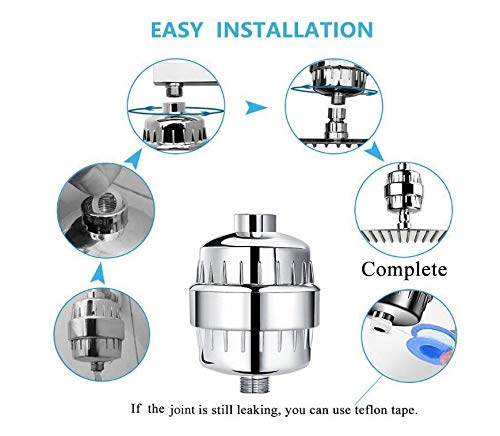 Shower Filter, 15-Stage High Output Luxury Universal Shower Filter (Chrome) with Replaceable Filter Cartridge Prevents Hair and Skin Dryness, Remove Chlorine and Heavy Metals, Soften Hard Water by Billion Xin (Image #2)