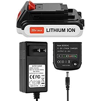 ANTRobut Replacement for 20V Black Decker LBXR20 Battery Charger Set LCS1620 Lithium-Ion 20 Volt Max Battery and 2A Black and Decker Charger