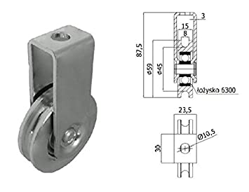 Zabi Seilrolle 59 mm fur Seil 8 mm Metallprofilrollen d=59mm/8 mit ...
