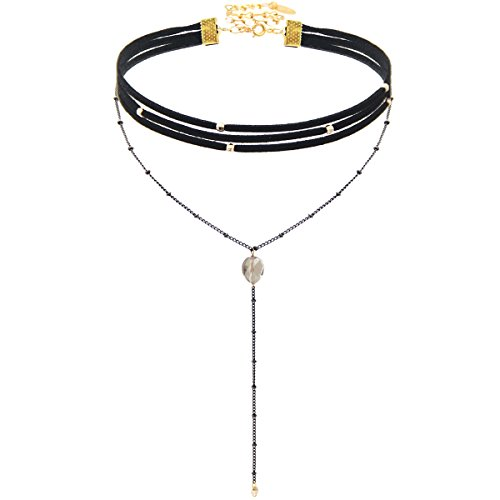 Choker Necklace Black Suede and Gunmetal Chain Wrap Choker Y Necklace Choker Length: 12