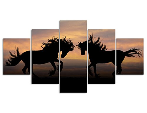 Modern Horses Painting Wall Art Canvas for Living room Home Decor Animal Pictures for Wall Decoration New Year Gifts Set Framed Ready to Hang for House (60''W x 32''H)
