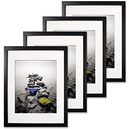 - SuperDecor 11x14 Black Picture Frame - Made to Display Pictures 8x10 with Mat or 11x14 Without Mat - Wall and Tabletop Display Poster Frame - Pre-Installed Wall Mounting Hardware