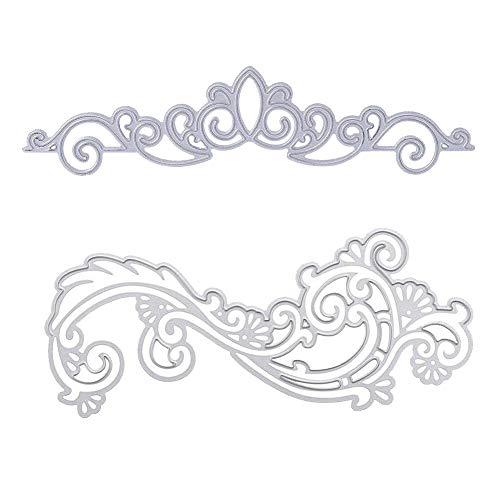 2 PCS Lace Flower Lace Crown DIY Scrapbooking Cutting Dies Metal Stencil Template for Album Paper Card Making (Lace Flower Cutting Dies)