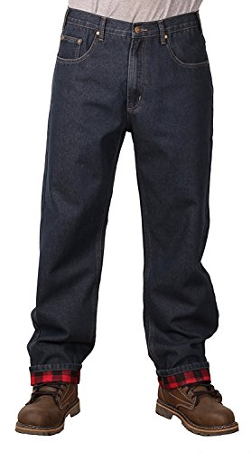 Outback Rider Men's Flannel Lined Relaxed Fit Jeans (36x34) (Denim Relaxed Fit Jean Flannel)