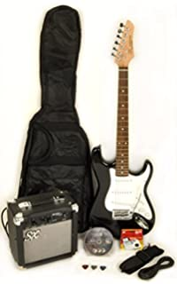 SX RST 3/4 BK Short Scale Black Guitar Package with Amp, Carry Bag