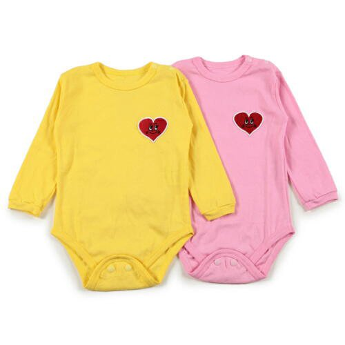 """Anak Juju (""""Happy Child"""") - Onesie (bodysuit) - Long-Sleeve - Set of 2 (includes FREE bib) - In Cute Milk Carton Style Box - Embroidered Smiley Heart Patch - (Soft, Cute and Colorful 100% Cotton, Machine Washable, Comfortable and Durable),Yellow / Pink,3-6 Months"""