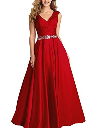 - Dannifore Burgundy V-Neck Pleated Satin Prom Dress Beaded Long Formal Evening Gowns for Women Size 24W