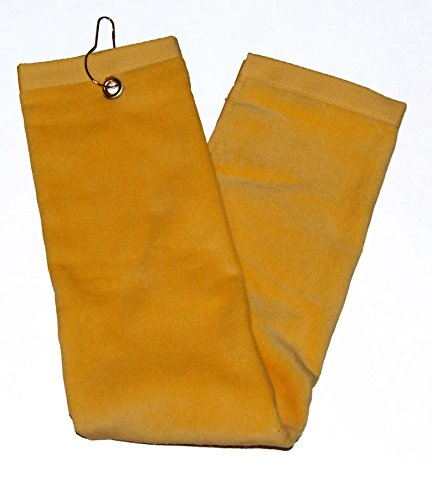 Yellow Tri-Fold Golf, Hand Towel with Grommet & Hook