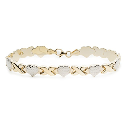 7 Inch 10k Two-Tone Yellow and White Gold Stampato Xoxo X & Heart Hugs Kisses Love Chain (Gold Womens Stampato Bracelet)