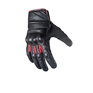Motorcycle Biker Gloves In Black Premium Leather   Padded All Weather Feature for Men and Women   Touchscreen Fingers - Breathable Moisture Wick Air Flow Technology Between Fingers   SWIFT (Red-M)