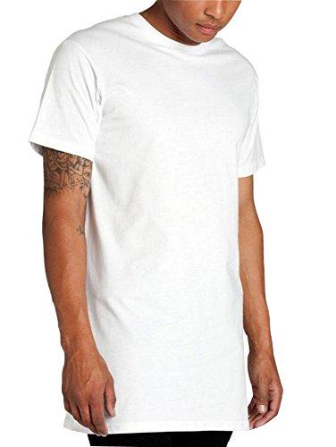 Valley Railway Men's Hipster Hip Hop Short Sleeve T-Shirt With Zipper Trim (Small, White)