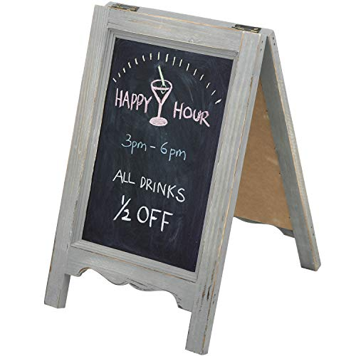MyGift 15-inch Mini Tabletop Gray Wood A-Frame Double-Sided Chalkboard Sign Easel