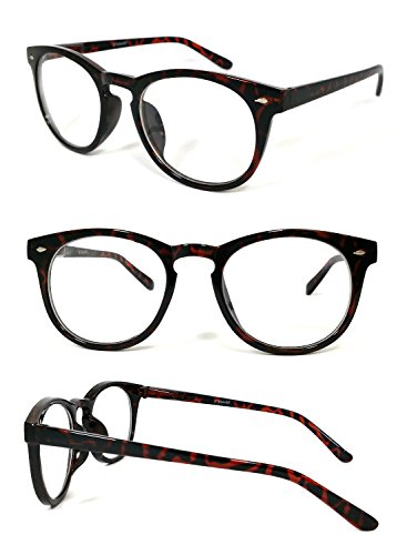 [Tortoise Brown Blended Bifocal Reading Glasses Round Clubmaster Wayfarer Mens Womens 3 Color +2.00] (Dog Ear Costume Template)