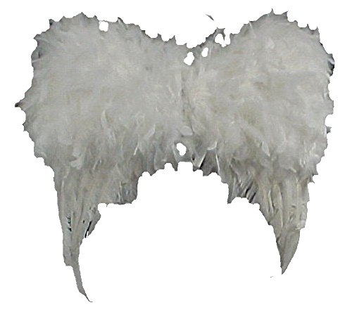 - Feathered Angel Wings 16inches 3 Dimensional Wings and Marabou Halo White