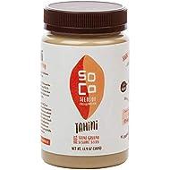 SoCo All Natural Sesame Tahini -Kosher | Stone Ground, Organically Grown, Slow Roasted, Gluten-Free, Vegan, Peanut Free (13.4 Ounce) (1 Pack)