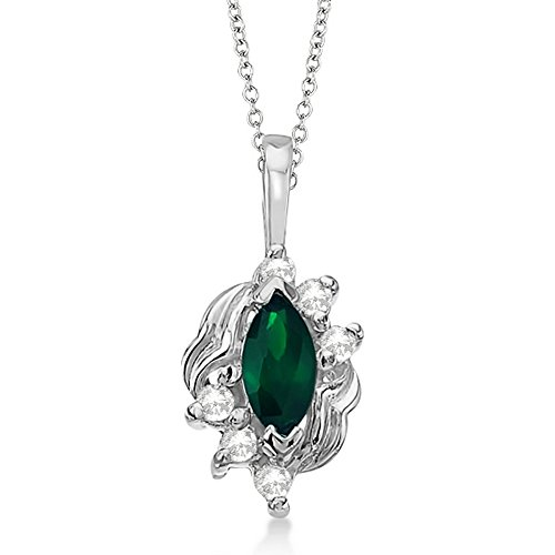 Marquise Emerald and Diamond Pendant Necklace in 14K White Gold (0.34ct) (Ct Emerald Cut 0.34 Diamond)