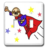 3dRose All Smiles Art - Funny - Cute Funny Flying Sloth Superhero in Red Cape Cartoon - Light Switch Covers - double toggle switch (lsp_291111_2)